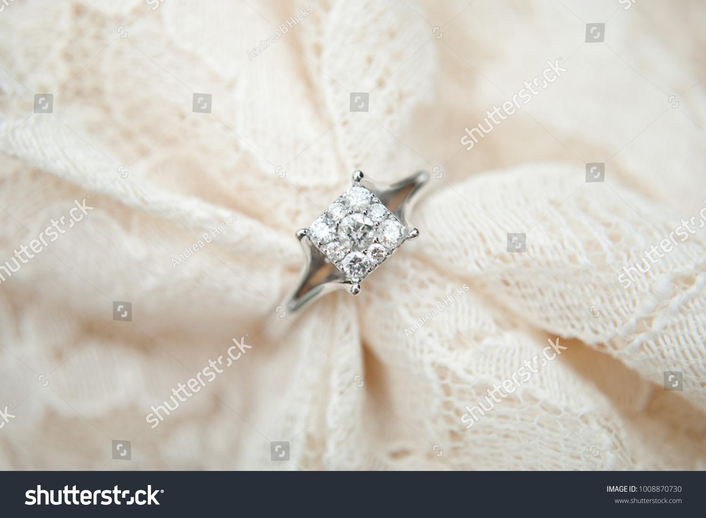 Close White Gold Diamond Engagement Ring Stock Photo Edit Now