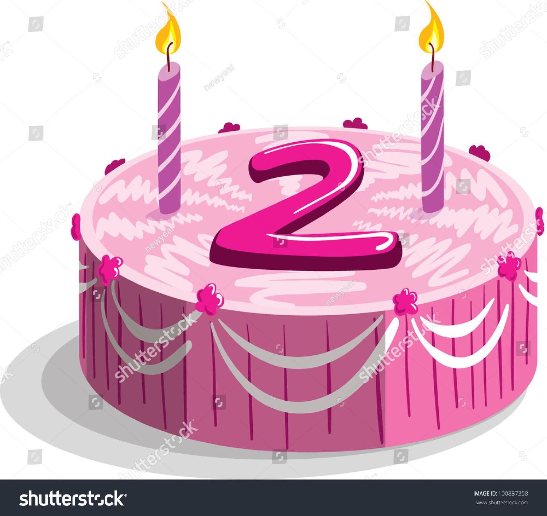 Second Birthday Cake Stock Vector 100887358