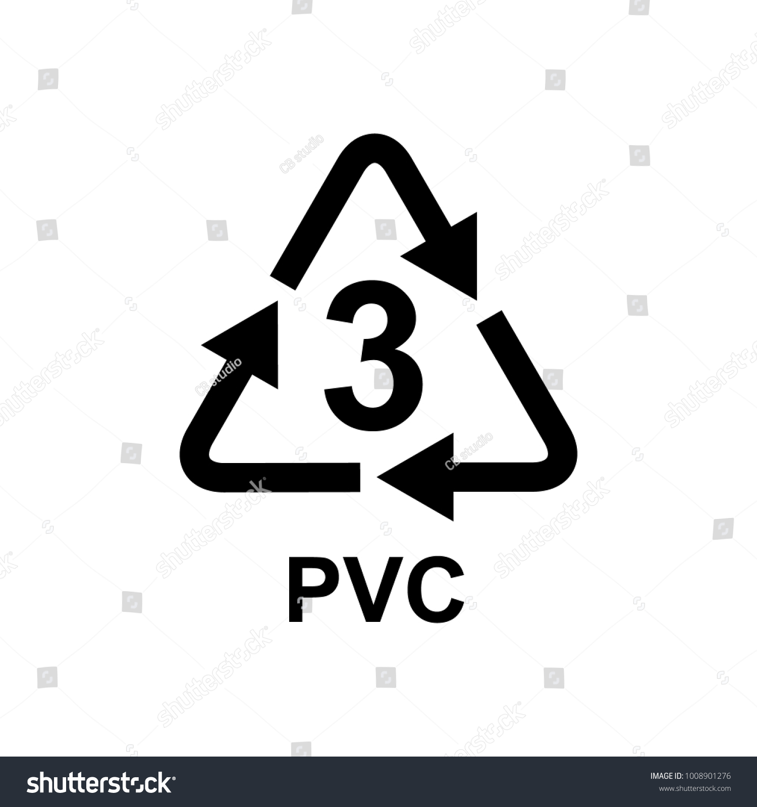 Plastic Recycling Symbol 3 Pvc Stock Vector Royalty Free