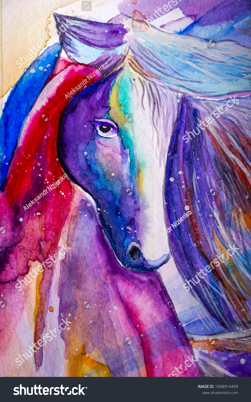 Beautiful Colorful Horse Painted Watercolor On Stock Illustration 1008914449