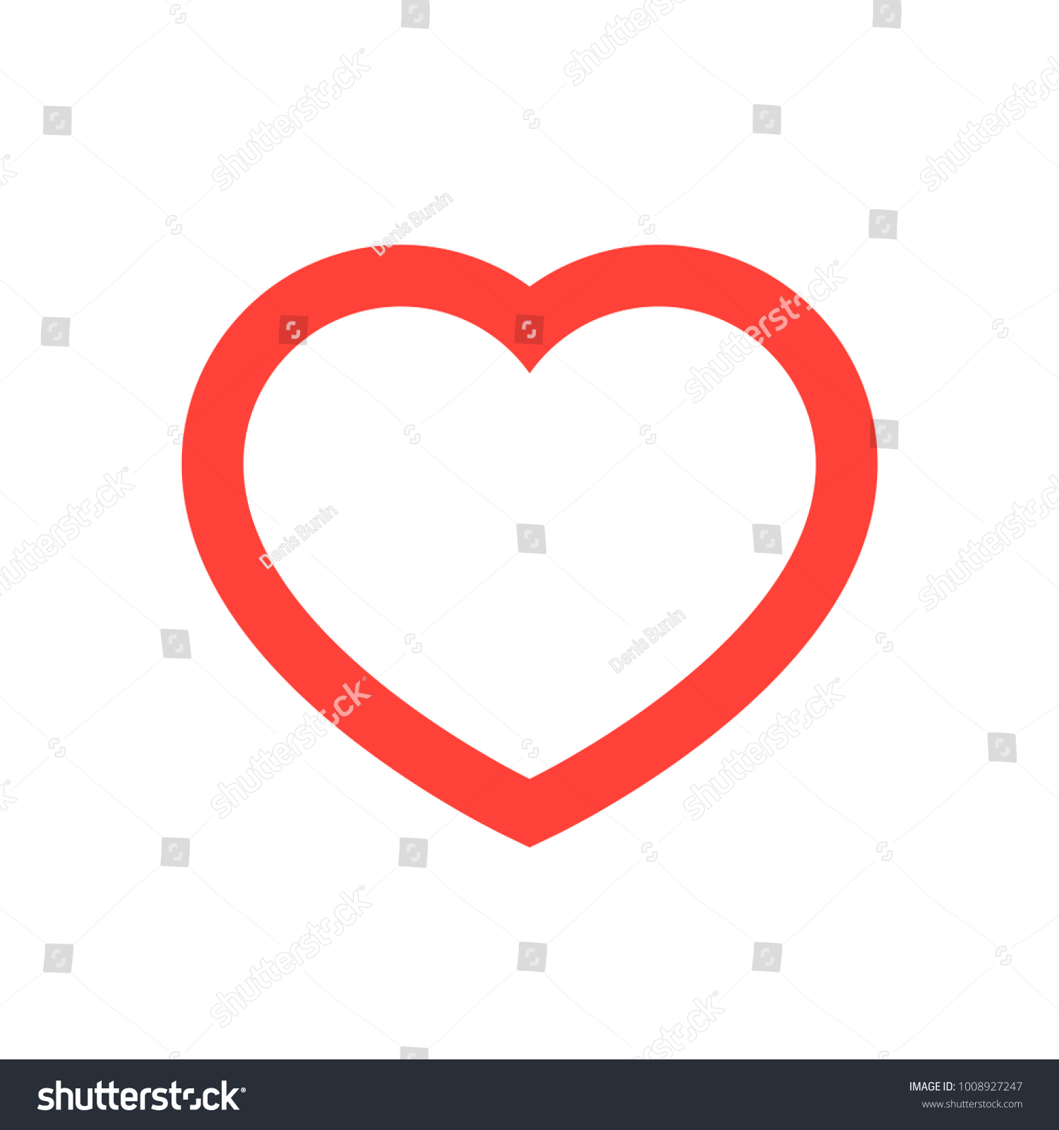 Red Heart Outline Stroke - vector isolated love symbol for save the ...