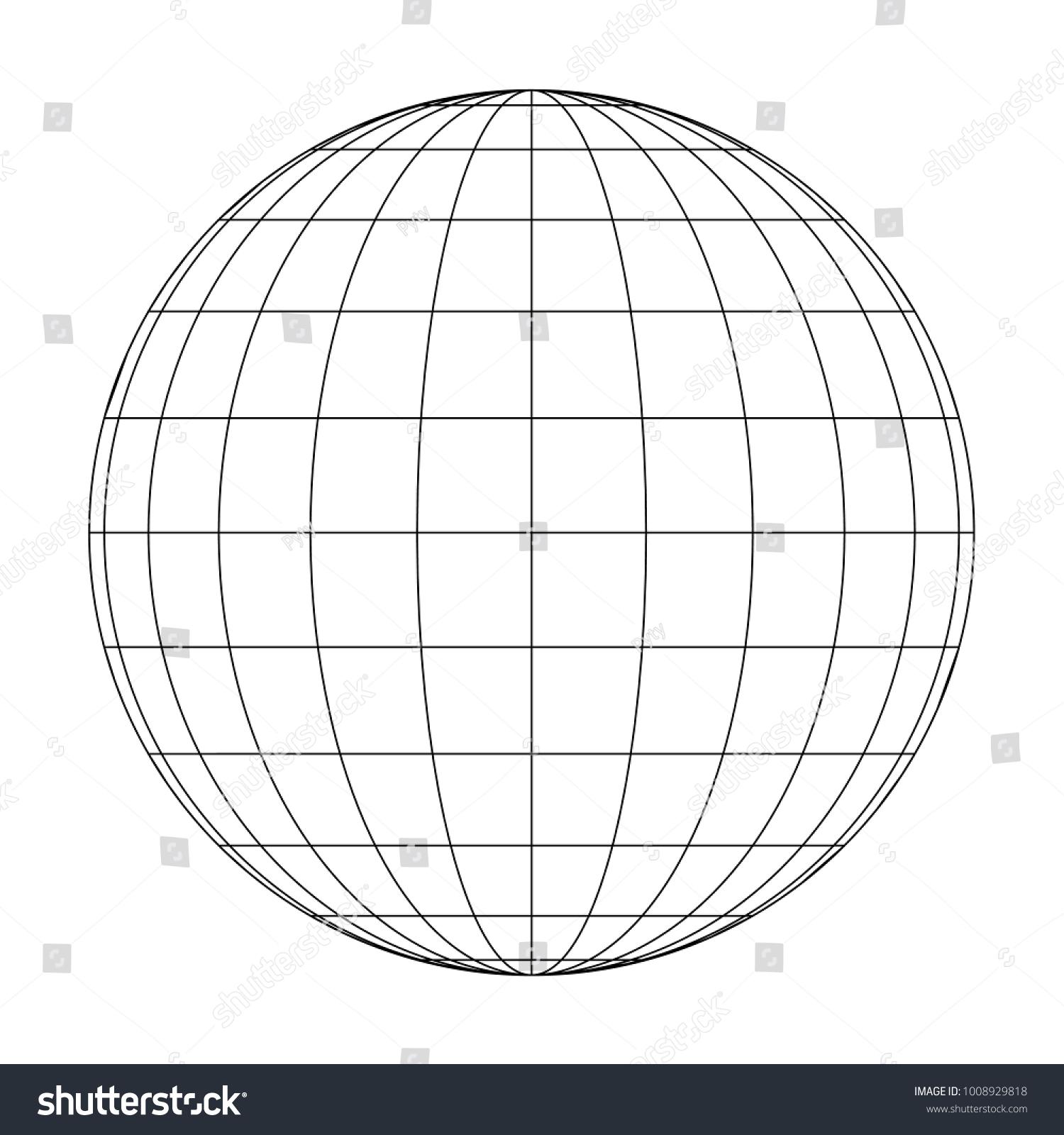 Front View Planet Earth Globe Grid Stock-Vektorgrafik (Lizenzfrei ...