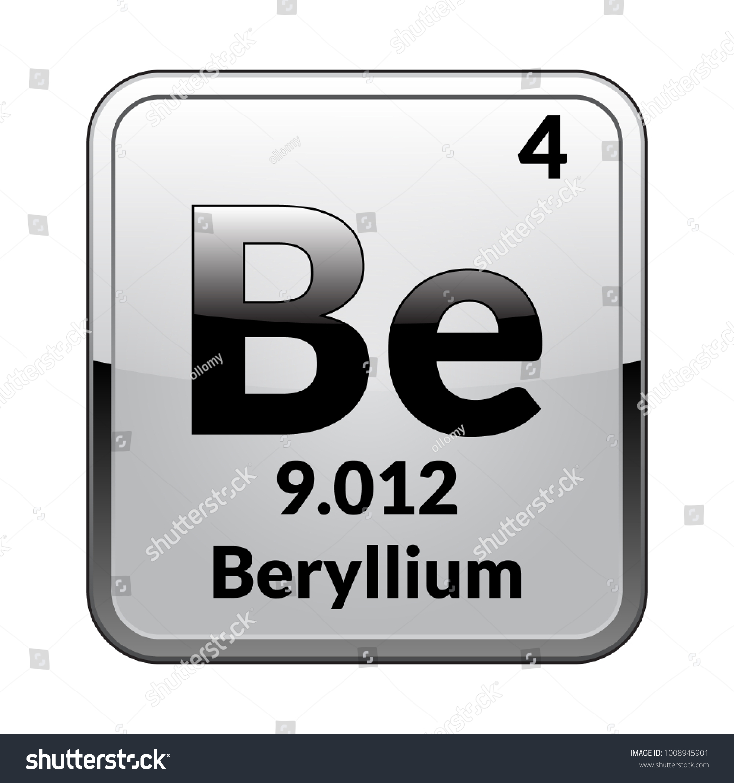 Beryllium symbolchemical element periodic table on stock vector beryllium symbolemical element of the periodic table on a glossy white background in a buycottarizona Image collections