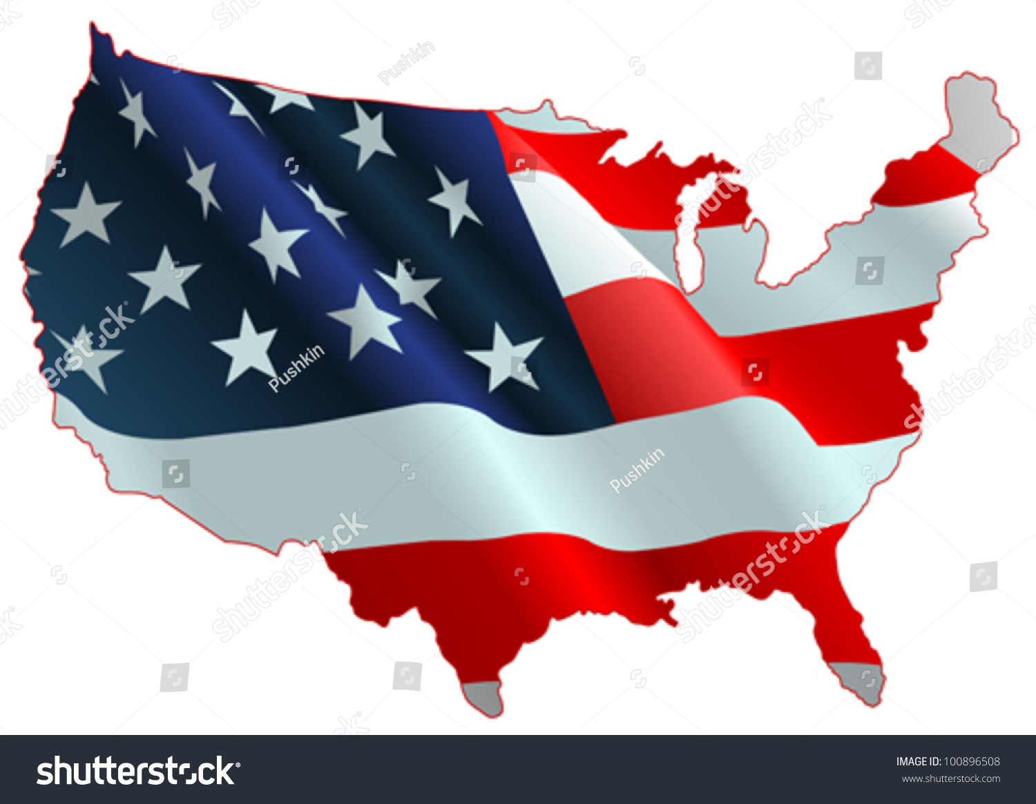 An Design Of American Flag Map Stock Vector Illustration - Us map american flag