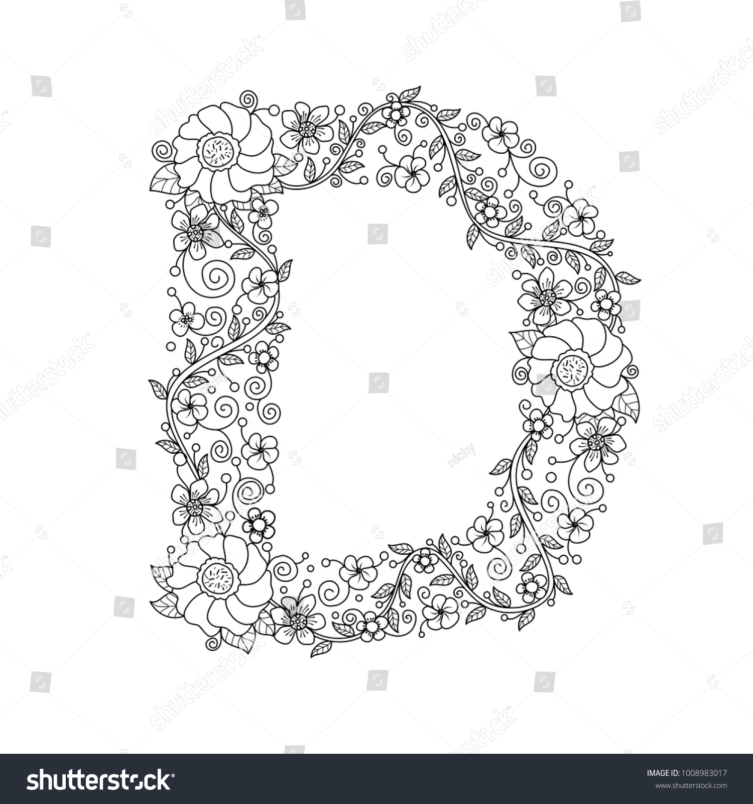 Floral Alphabet Letter D Coloring Book For Adults Vector
