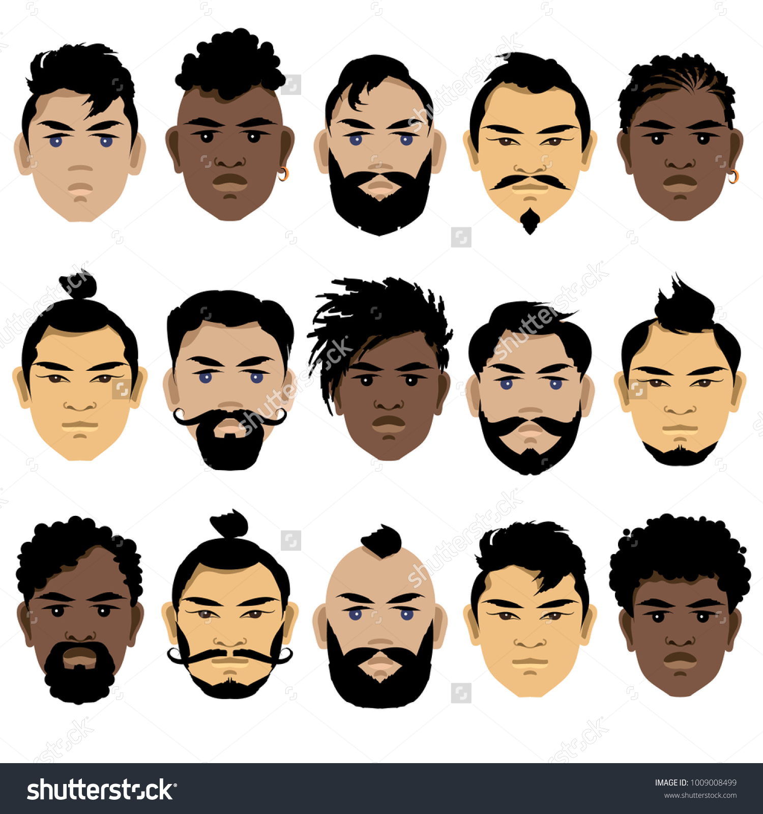 Set Mens Faces Different Races Hairstyles Stock Vector (Royalty Free ...