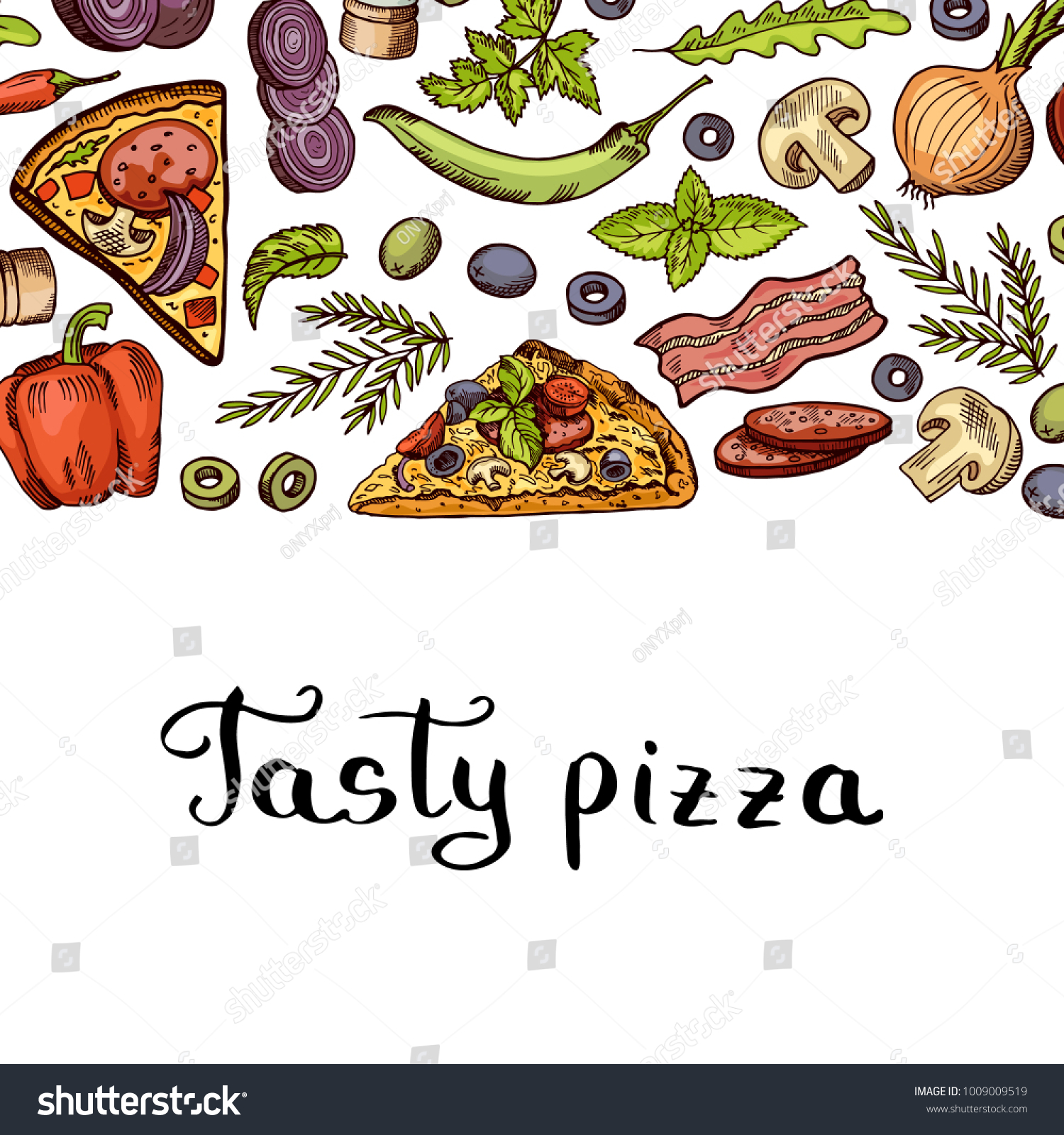 Vector Cooking Pizza Banner Background Place Stock Vector Royalty Free 1009009519