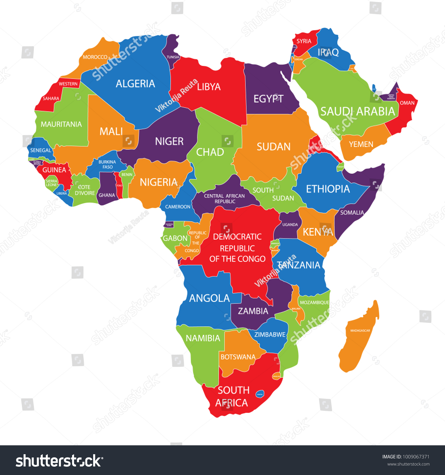 Raster Illustration Africa Map Countries Names Stock Illustration