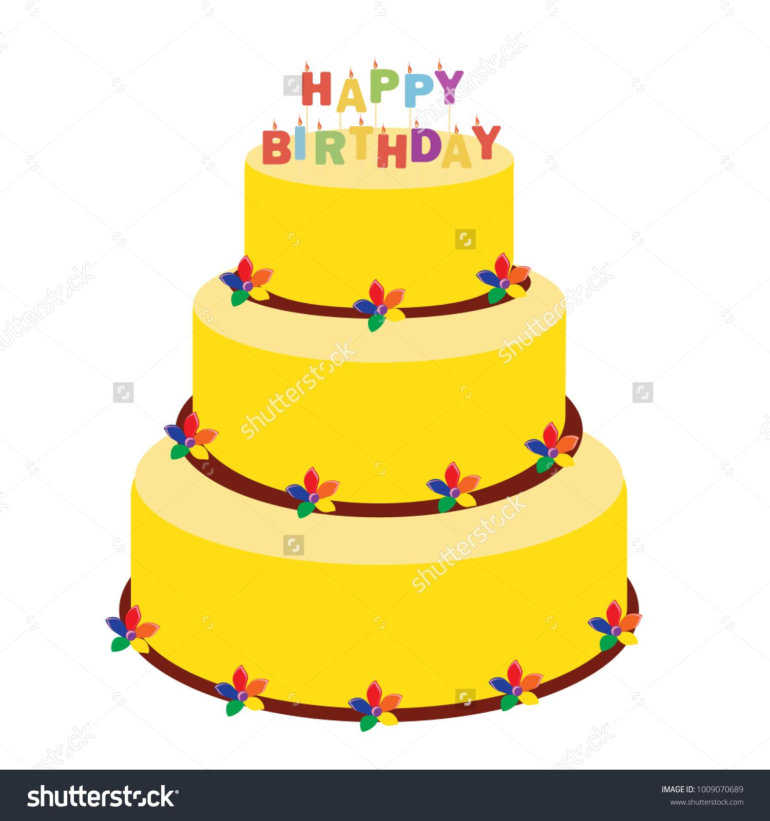 Raster Illustration Happy Birthday Greeting Car Stock Illustration