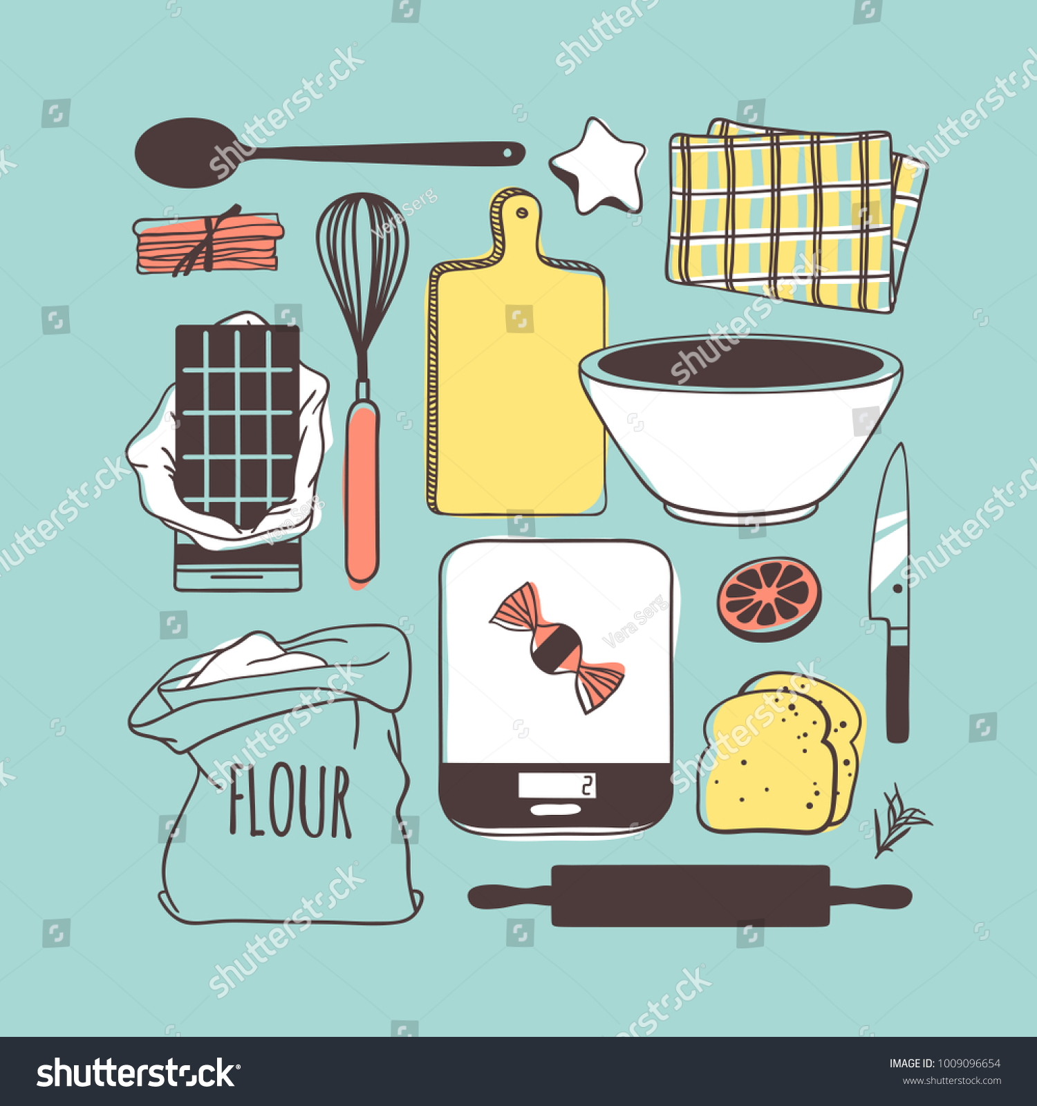 Hand Drawn Illustration Cooking Tools Dishes Stock Vector (Royalty ...