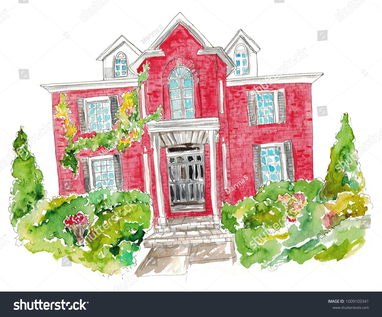Watercolor House Illustration Stock Illustration 1009103341 ...