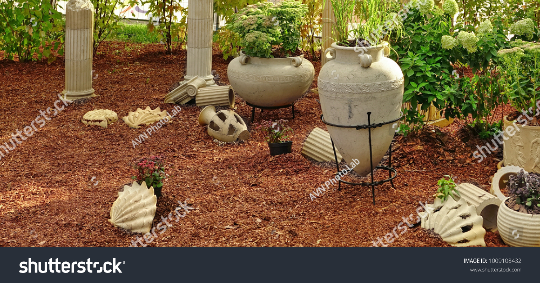Modern Backyard Garden Corner Roman Antique Stock Photo (Edit Now ...