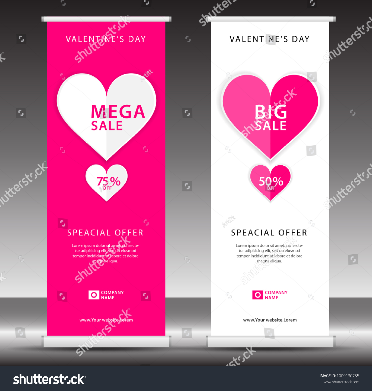 Valentines Day Sale Roll Banner Template Stock Vector (2018 ...