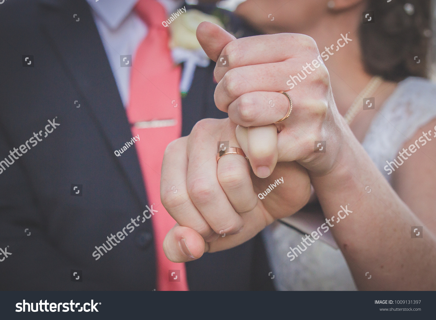 Bride Groom Wedding Couple Holding Hands Stock Photo & Image ...