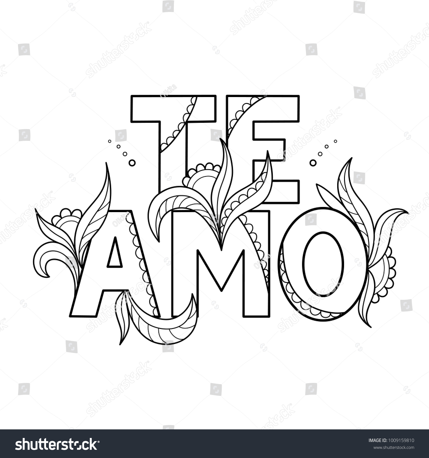 Black Outline Isolated Hand Drawn Decorative Stock Vector (Royalty ...