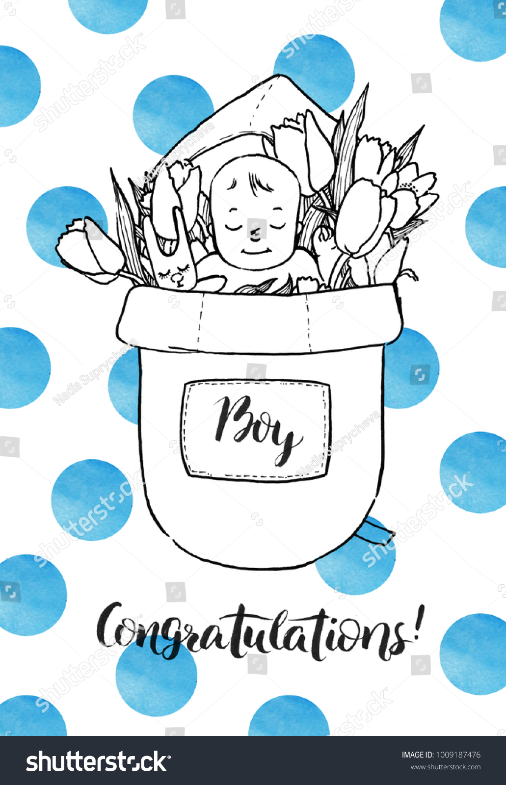newborn baby boy in flowers congratulations new parents