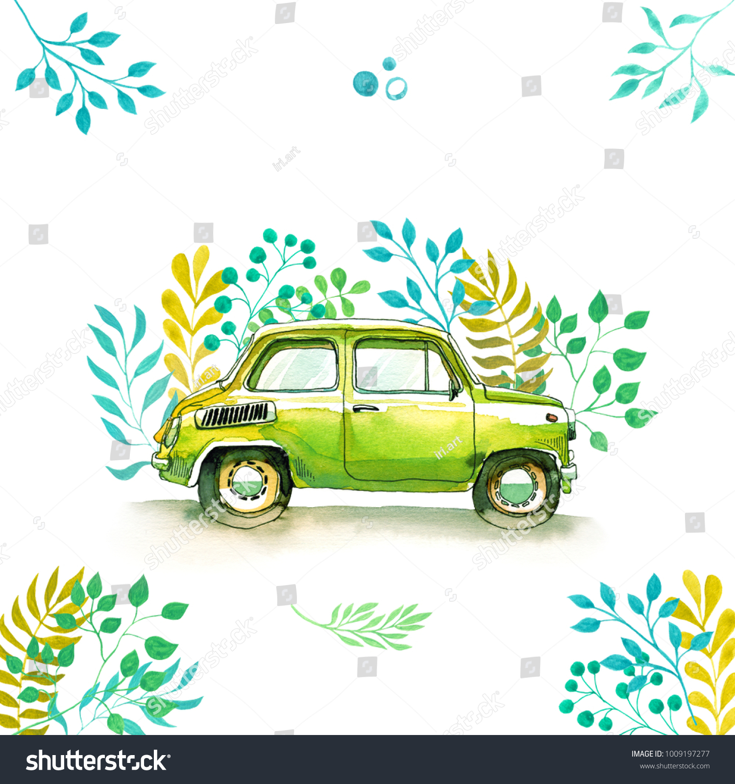 Watercolor Car Vintage Funny Watercolor Sketch Stock Illustration ...