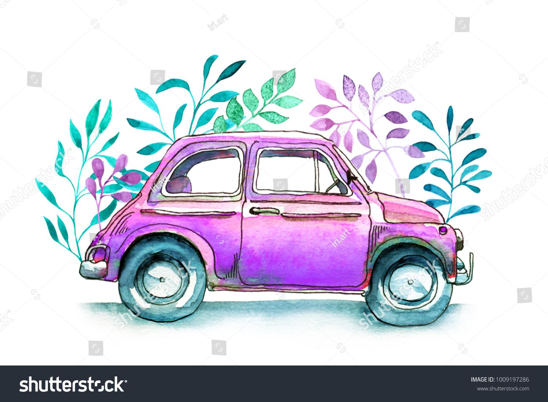 Watercolor Car Vintage Funny Watercolor Sketch Stock Illustration 1009197286