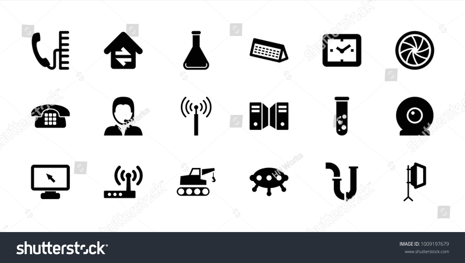 Technology Icons Set 18 Editable Filled Stock Vector