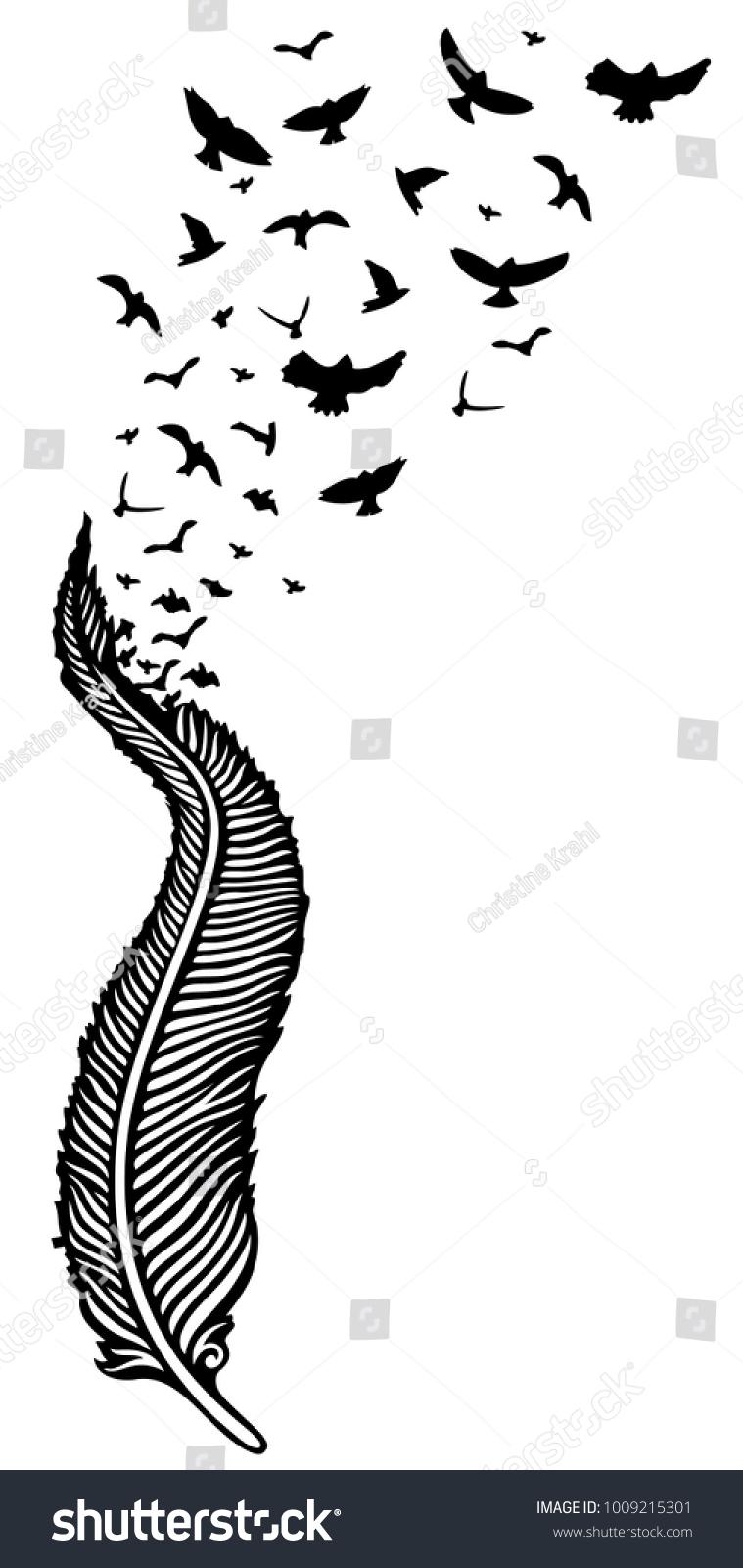 Feather swarm birds symbol hope stock vector 1009215301 shutterstock feather with swarm of birds symbol of hope buycottarizona Image collections