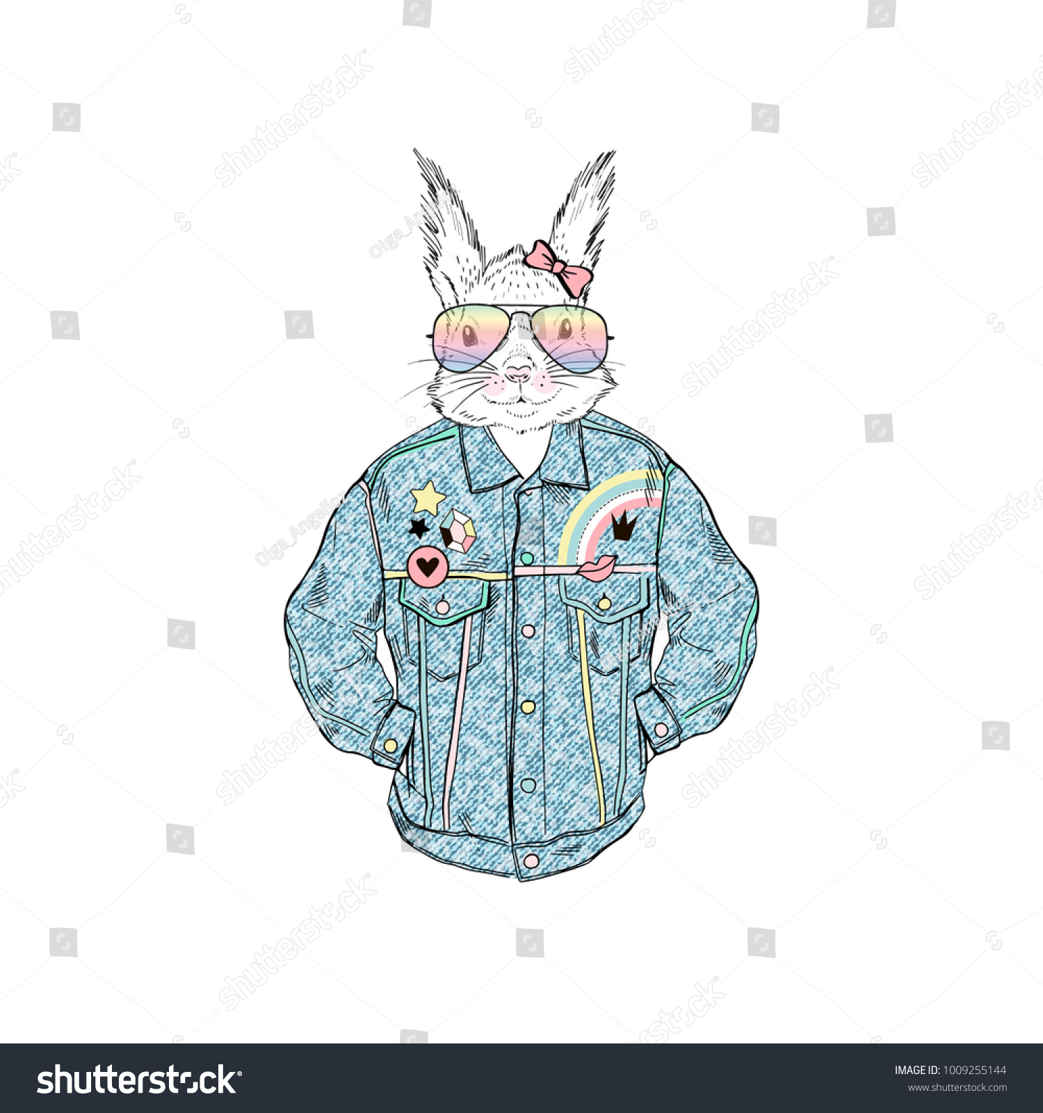 Squirrel Girl Dressed Retro Denim Jacket Stock Vector Royalty Free