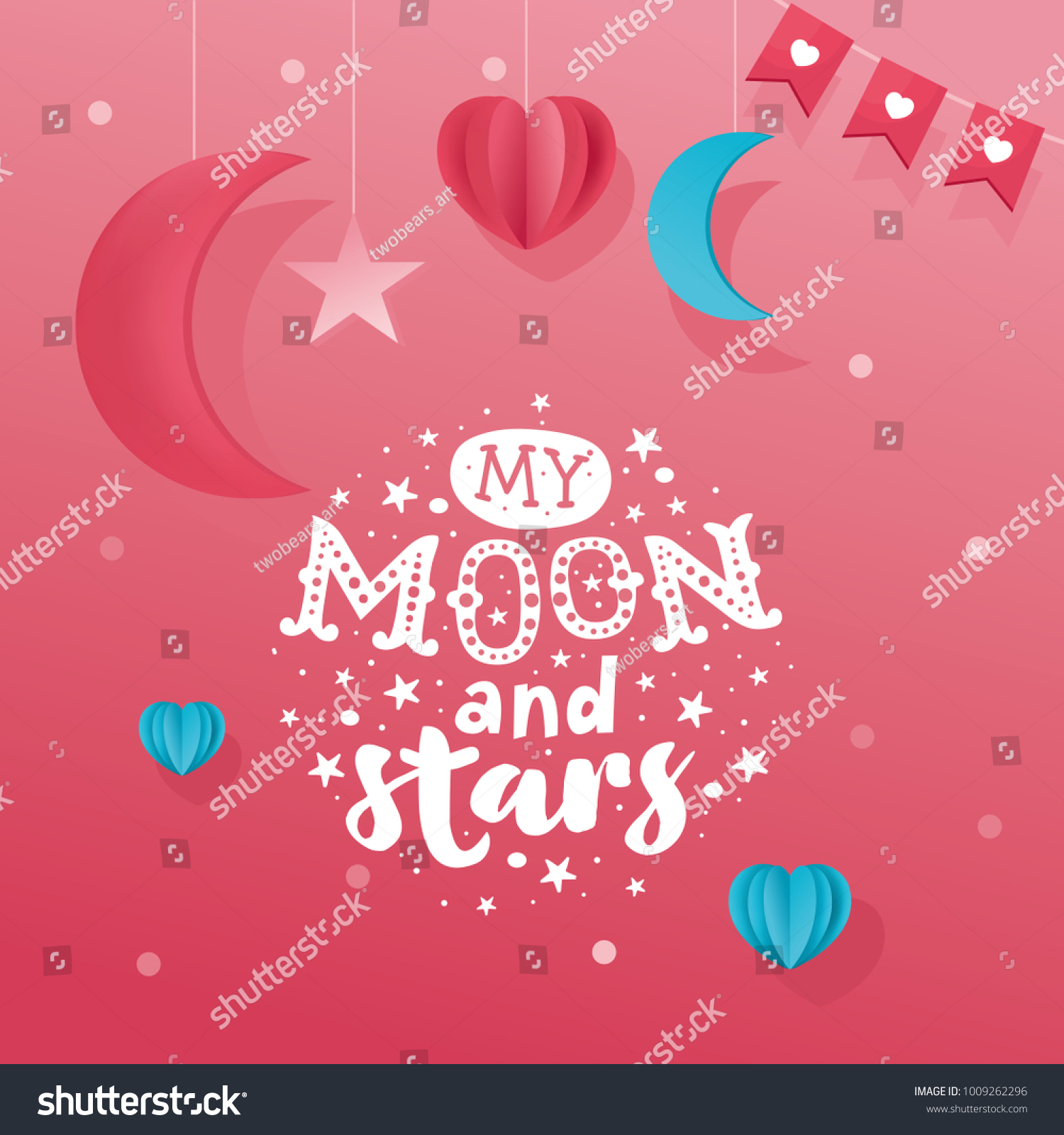 Romantic greeting card handlettering message moon stock vector romantic greeting card hand lettering message my moon and stars paper kristyandbryce Image collections