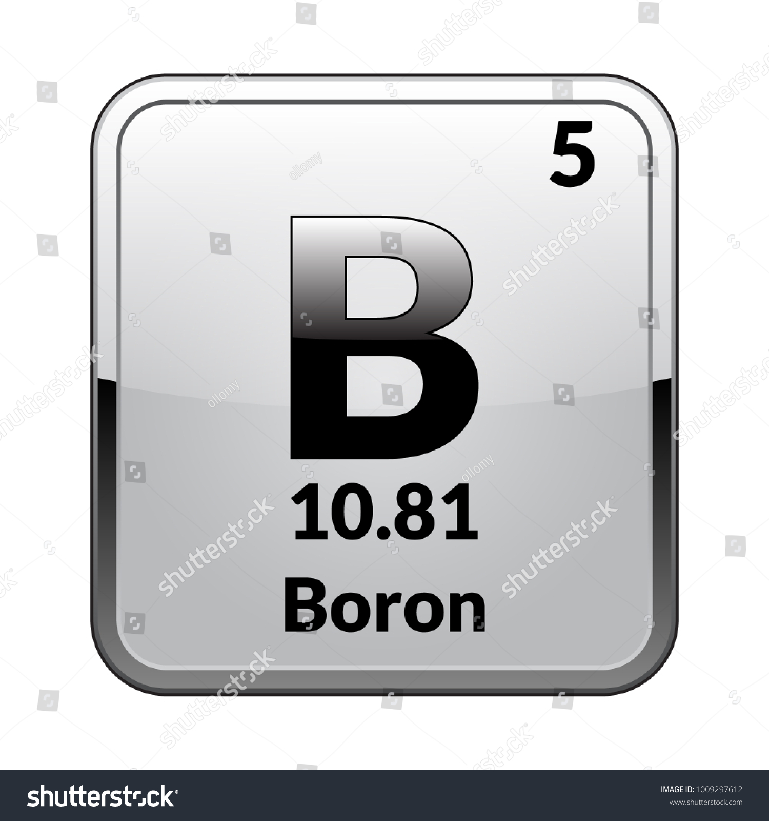 boron symbolchemical element of the periodic table on a glossy white background in a