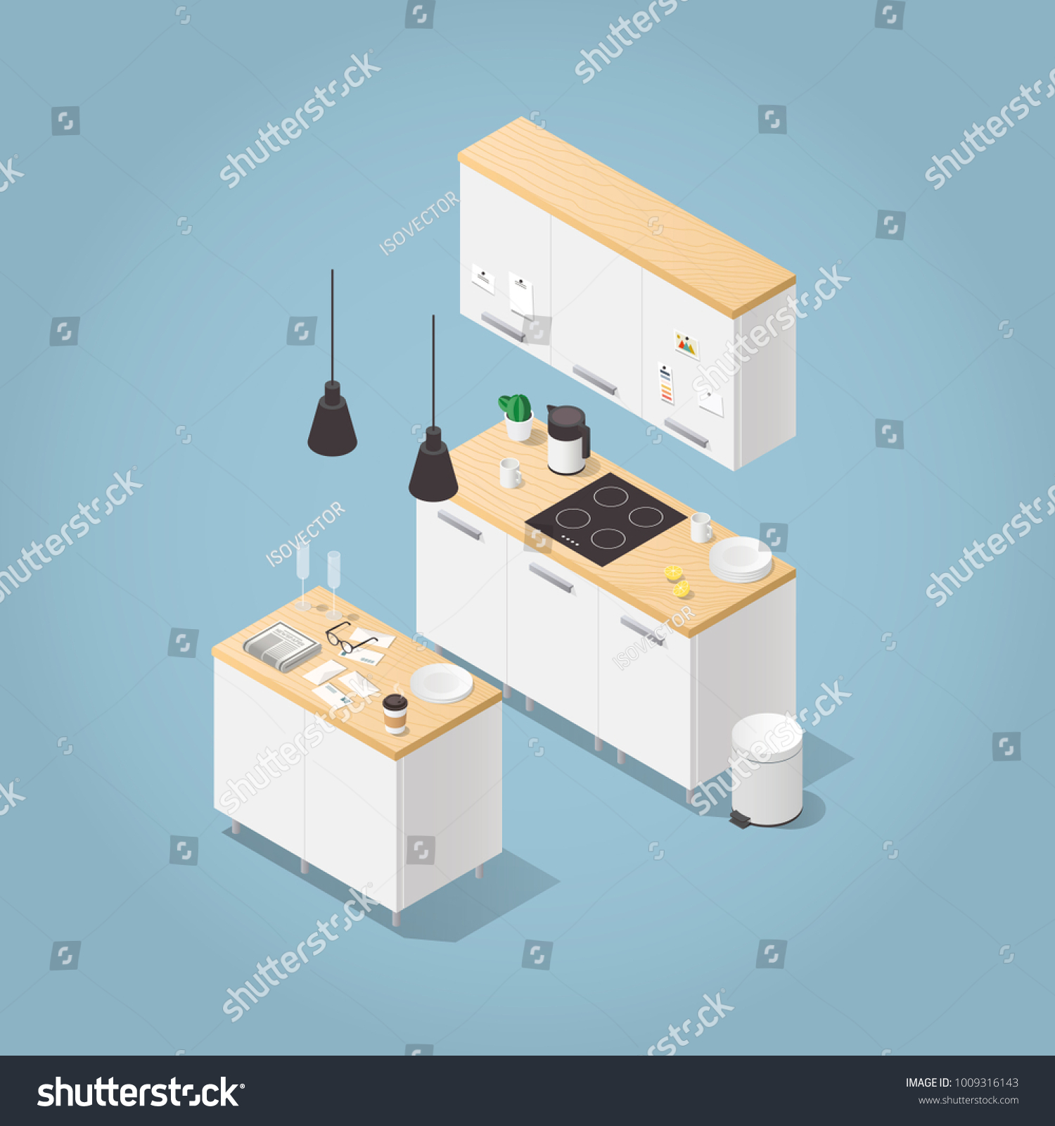 Vector Isometric Kitchen Illustration Small Kitchen Stock Vector Royalty Free 1009316143