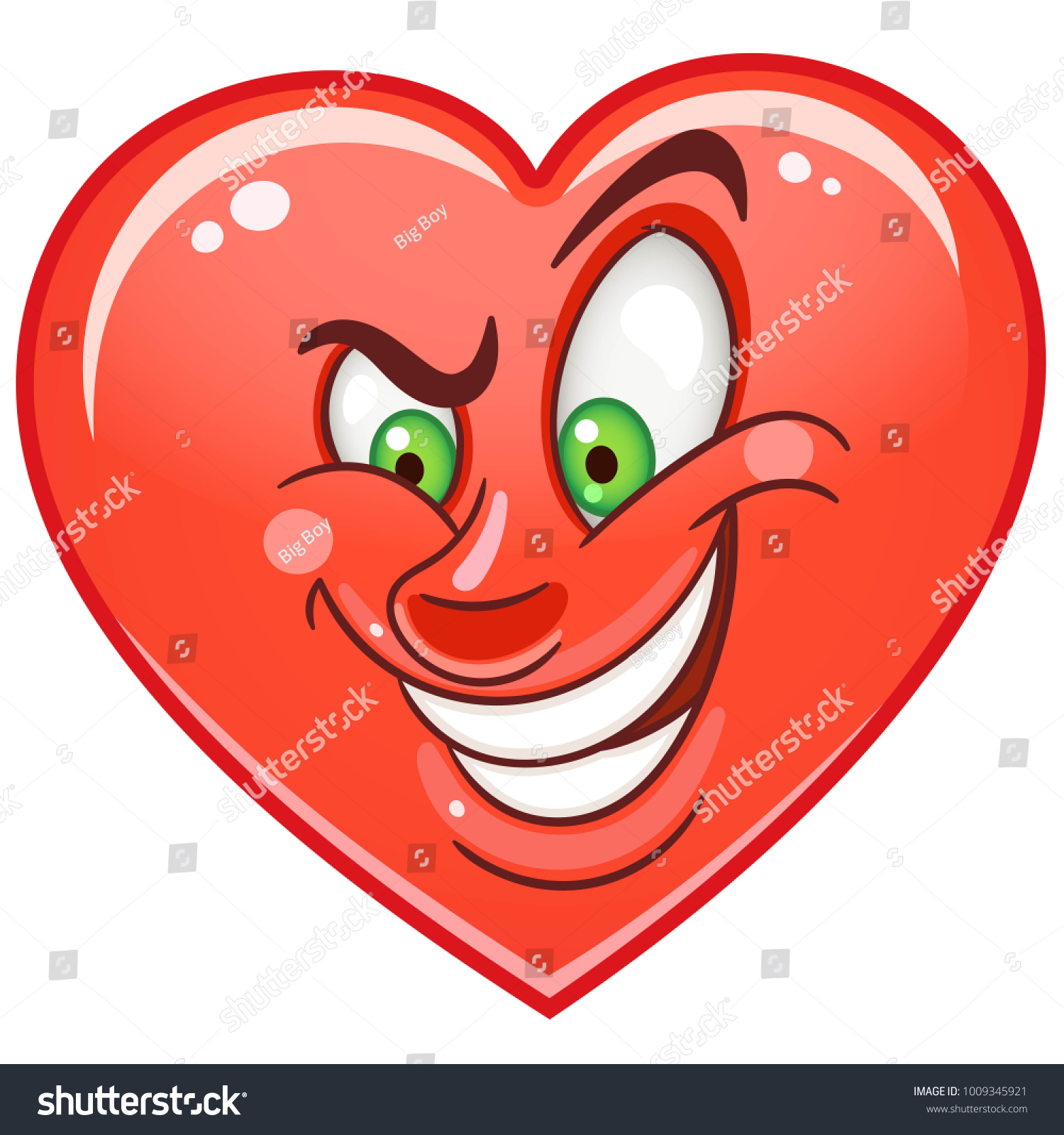 Cartoon Red Cunning Heart Emoticon Smiley Stock Vector Royalty Free