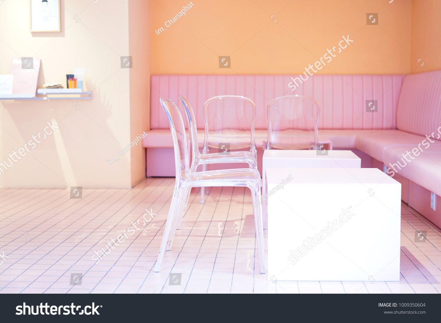Pink Seats Pink Room Pink Cafe Stock Photo Edit Now 1009350604