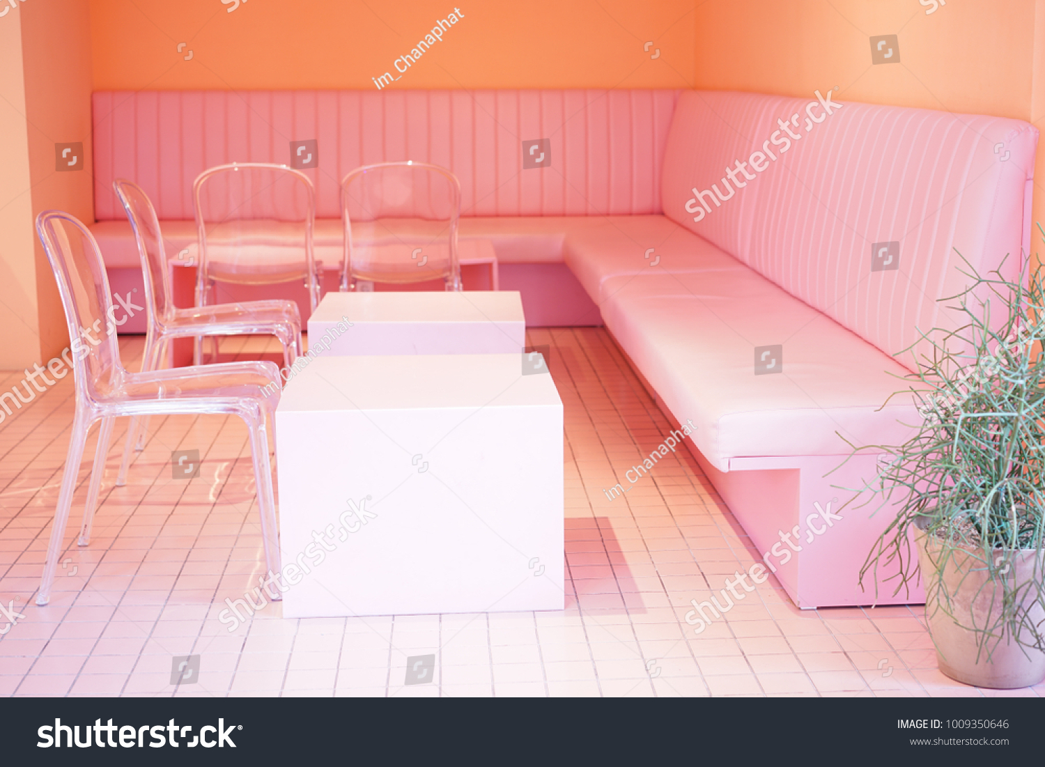 Pink Seats Pink Room Pink Cafe Stock Photo Edit Now 1009350646
