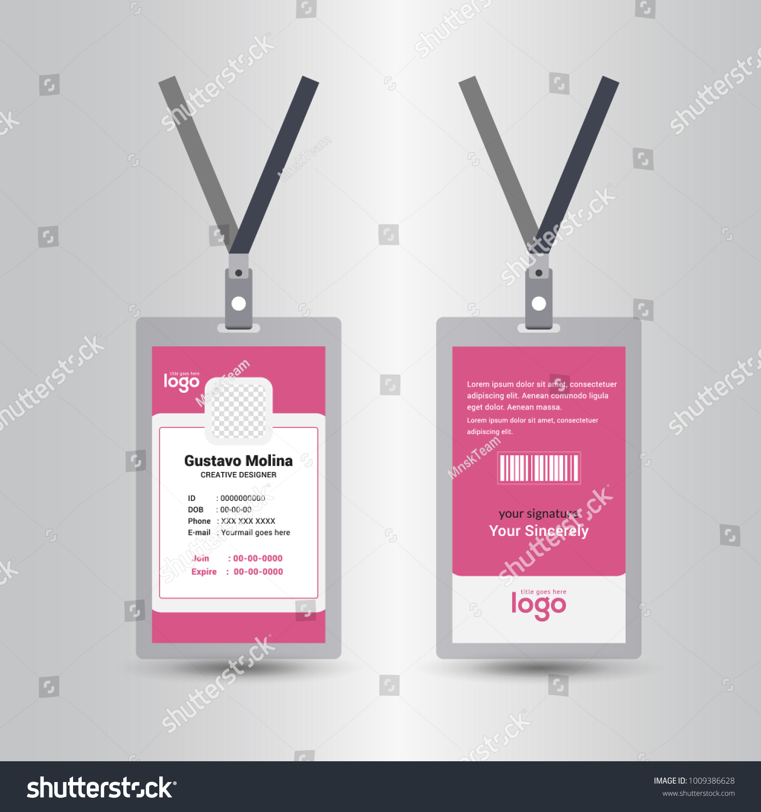pink color template staff employee identification stock vector
