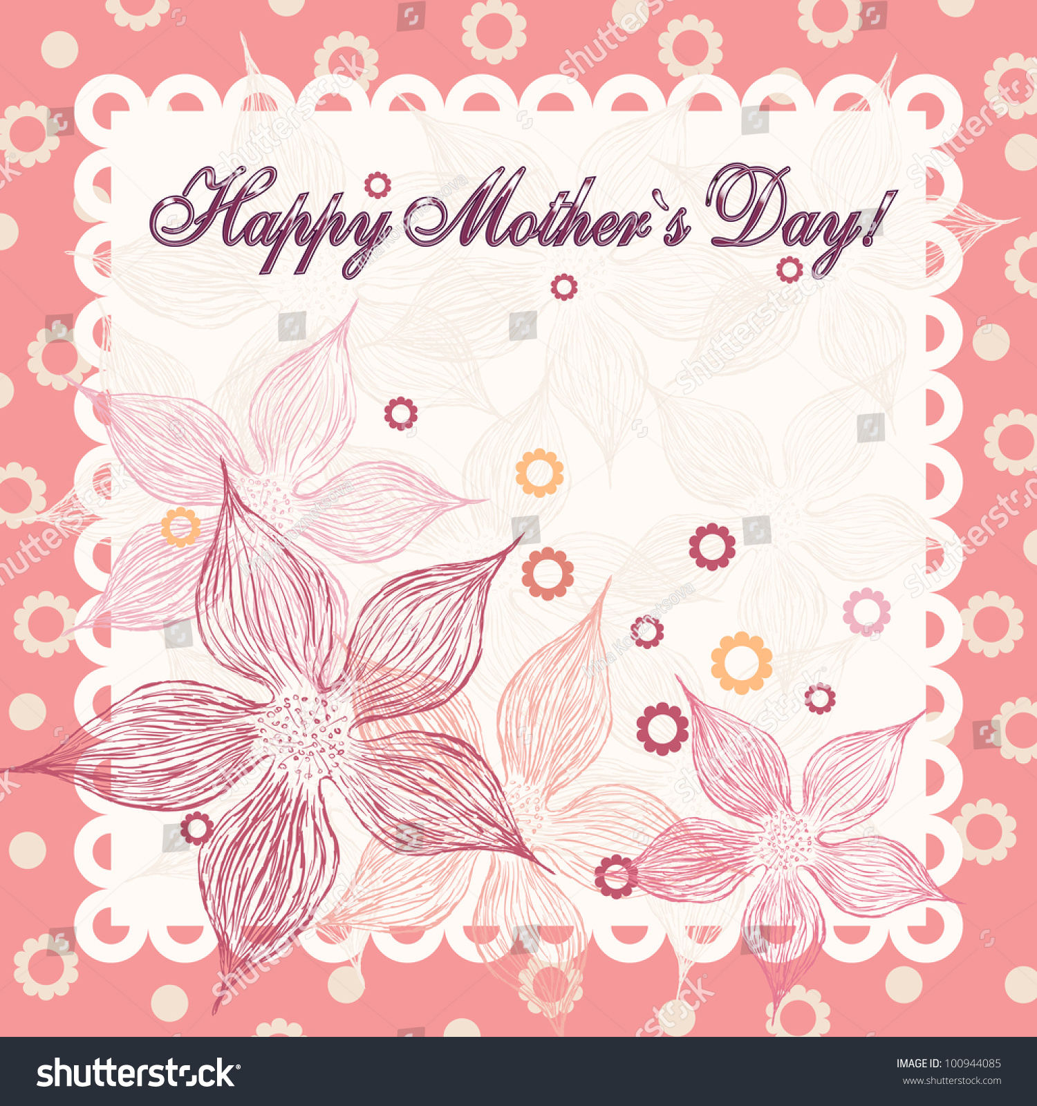 Happy Mothers Day Greeting Card Nice Stock Vector 100944085
