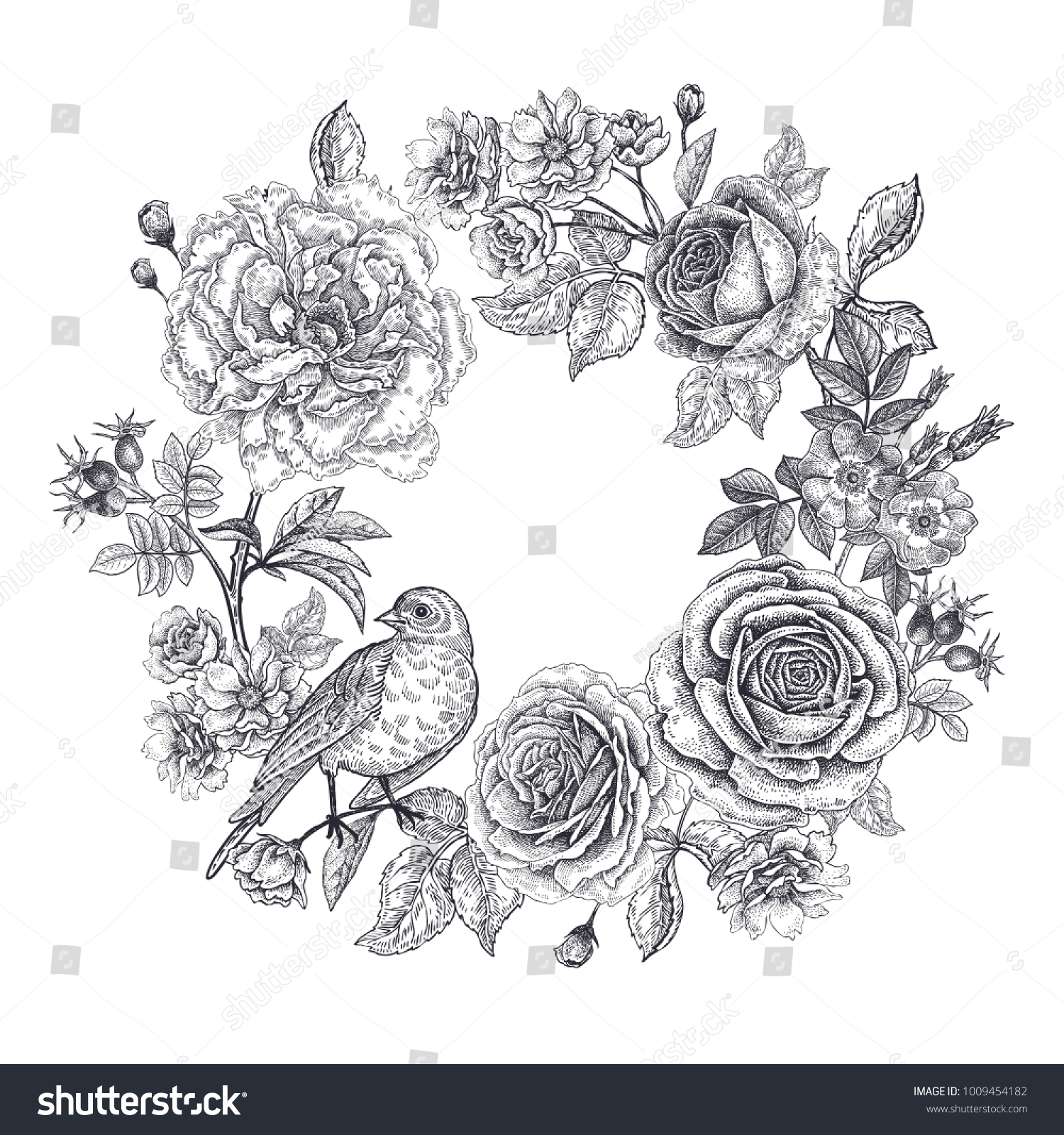 Vintage frame flowers bird print black stock vector royalty free vintage frame with flowers and a bird print black on a white background roses mightylinksfo