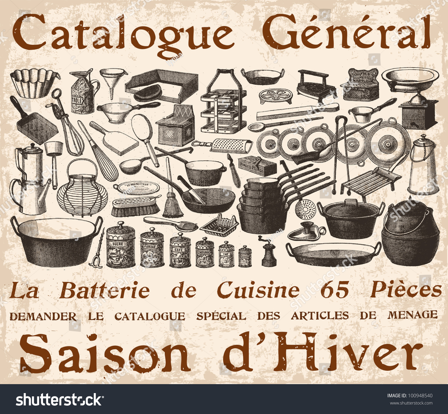 French cookware poster vintage engraved illustration - Ustensil de cuisine ...