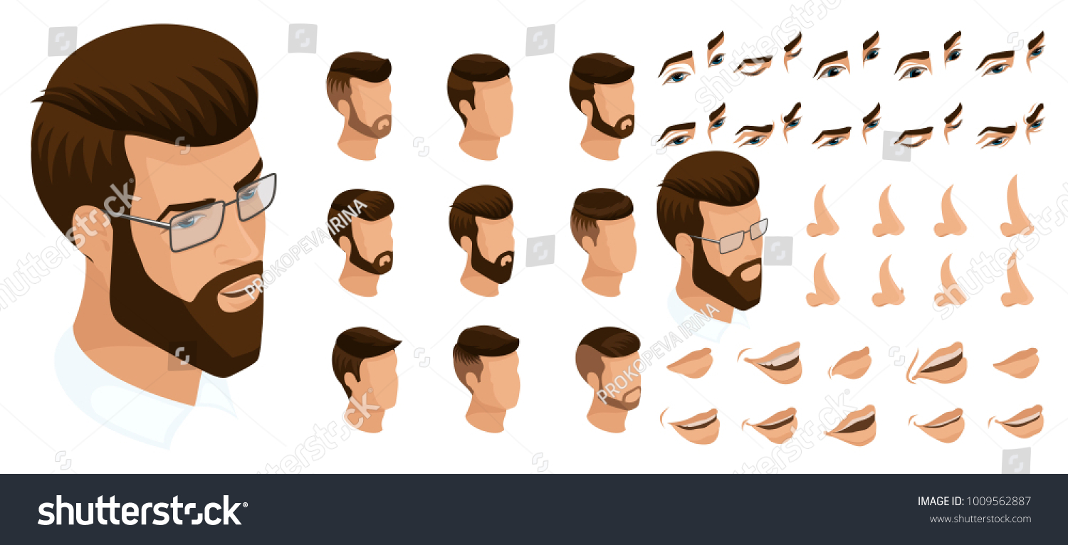 Isometrics Create Your Emotions Man Hipster Stock Vector ...