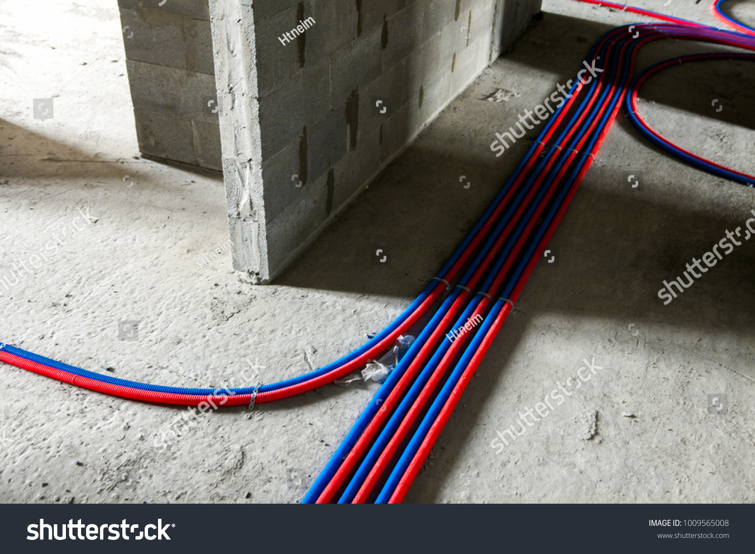 Pipes Heating System House Construction Site Stock Photo Edit Now Electrical Wiring In Cinder Block Walls Of At Floor Concrete Blocks