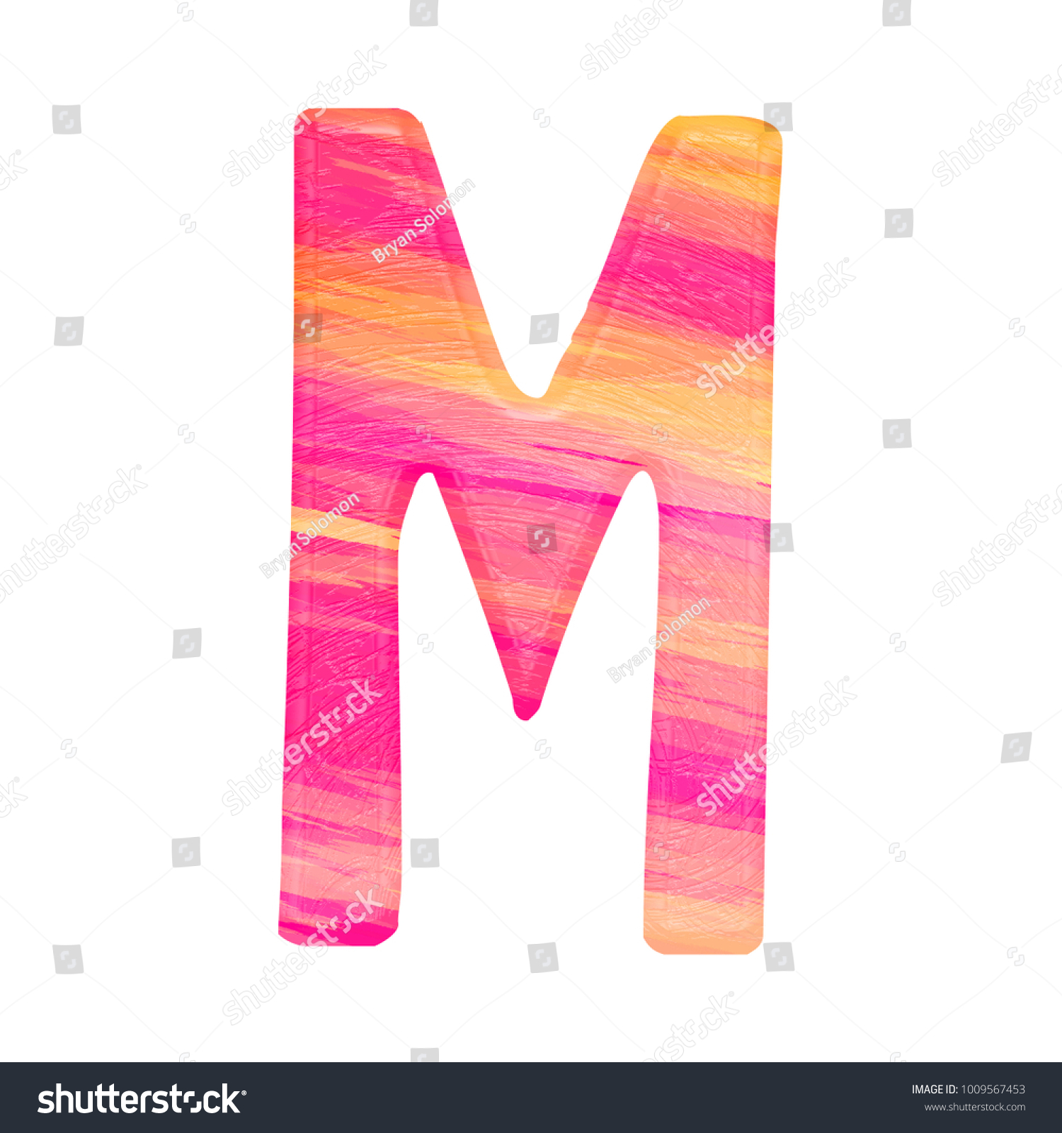 Colorful pink and orange painted uppercase or capital letter M in a ...