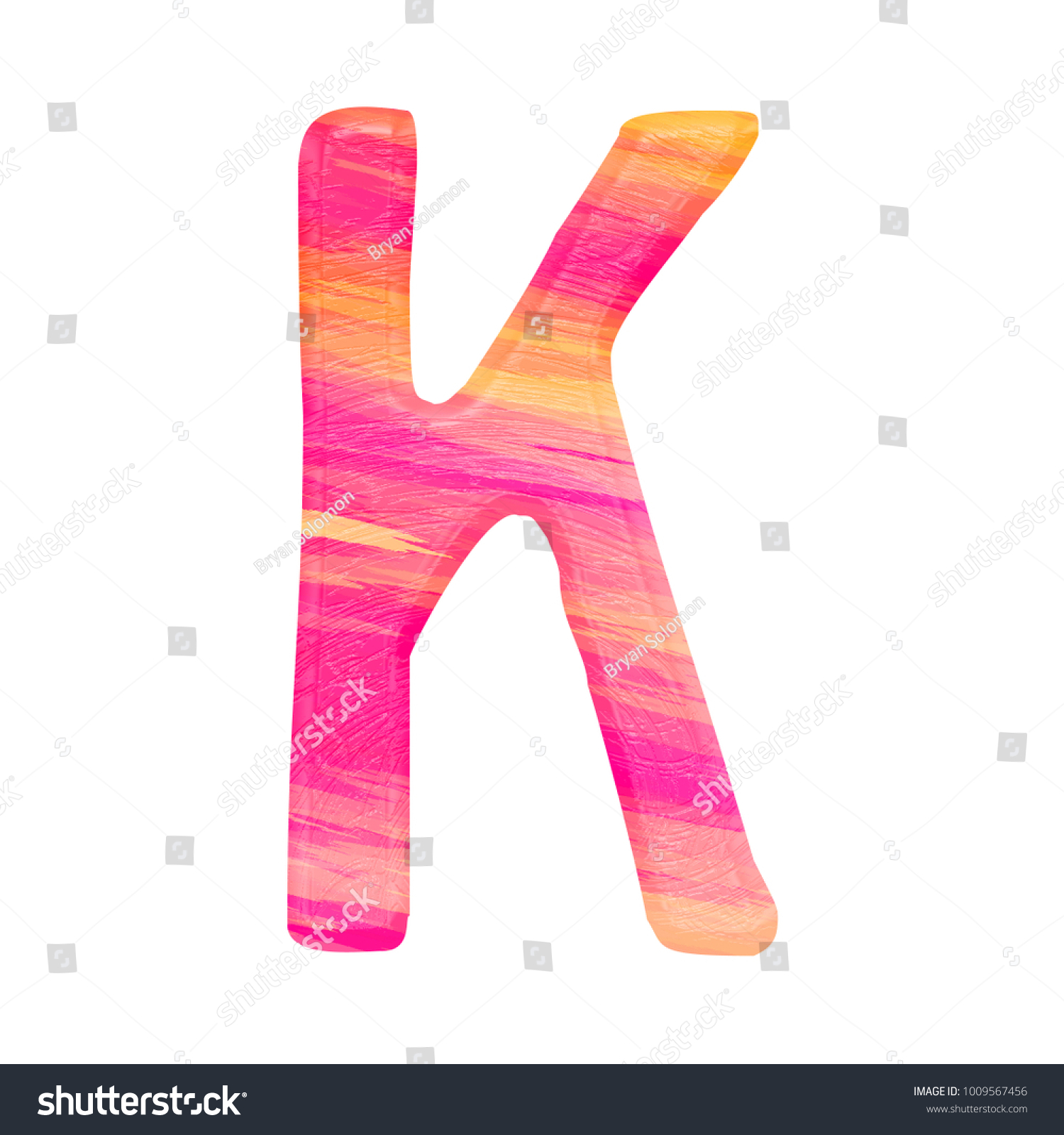 Colorful pink and orange painted uppercase or capital letter K in a ...