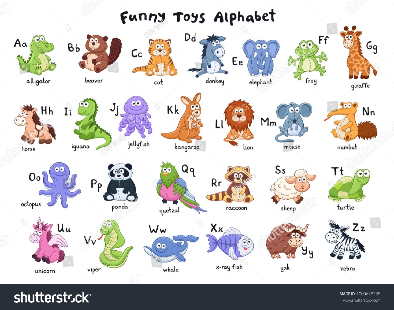 Cartoon Characters 8 Letters : Funny animals alphabet cute cartoon animals stock vector royalty