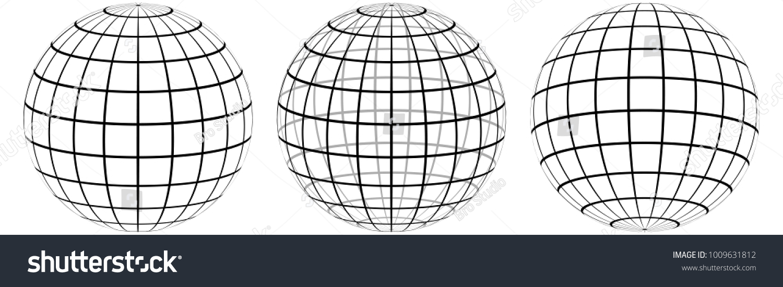 Set Graticule 3 D Globe Meridian Parallel Stock Vector (Royalty Free ...