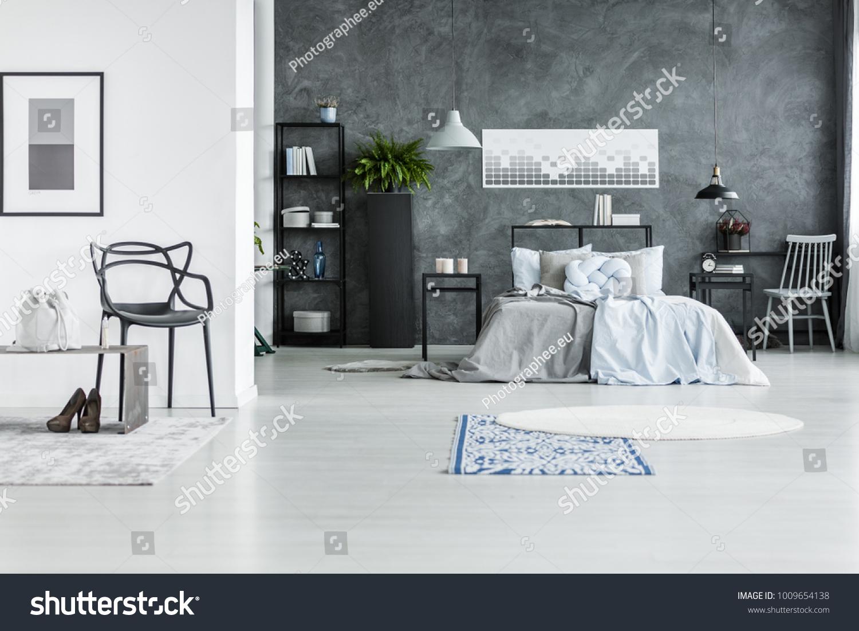 Rugs Designer Black Chair Monochromatic Bedroom Stock Image ...