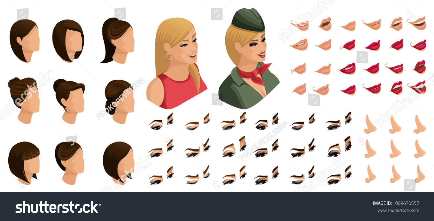 Isometrics Create Your Emotions Hairstyles Blonde Stock Vector ...