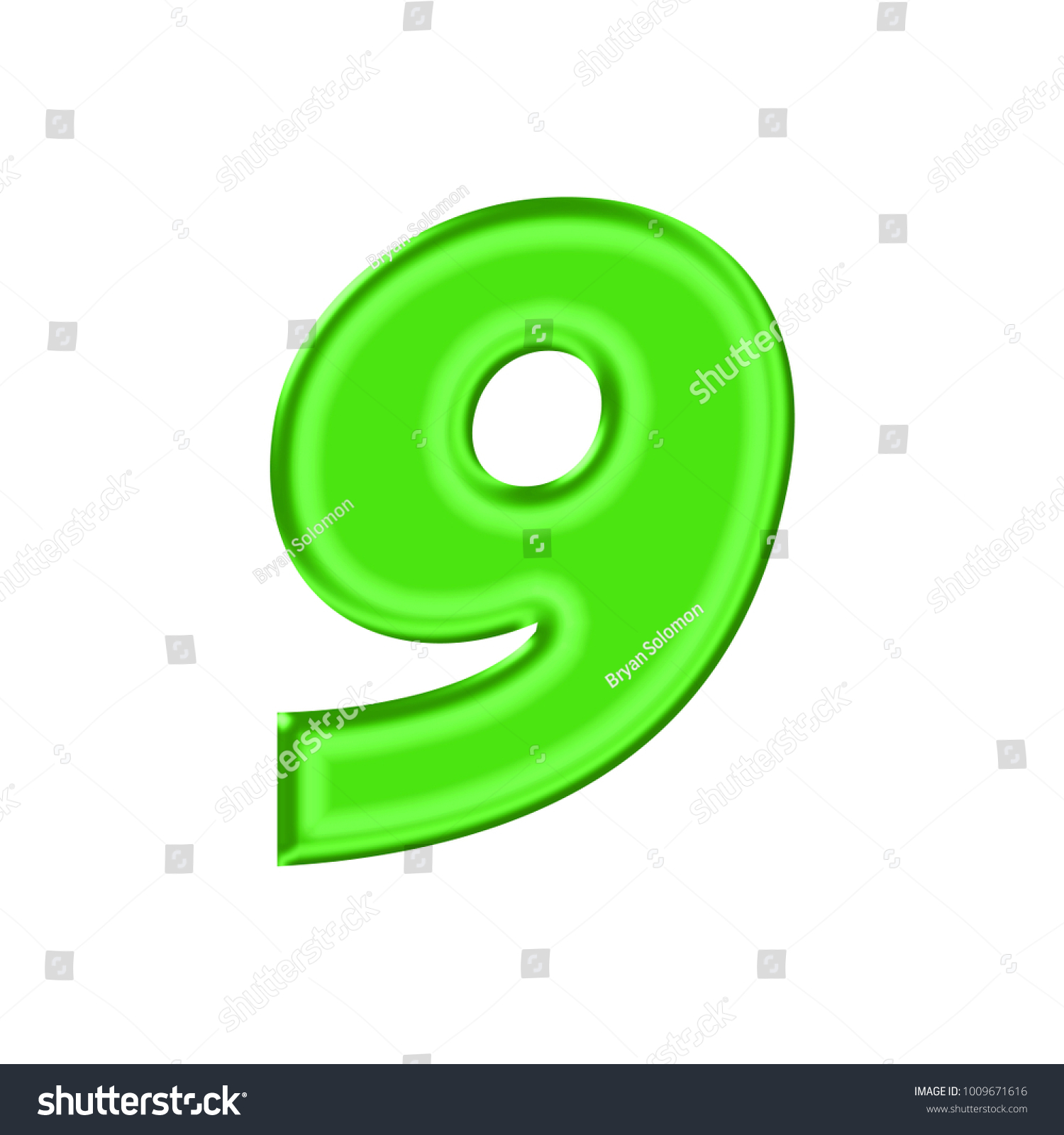 Shiny Plastic Green Number Nine 9 Stock Illustration 1009671616 ...