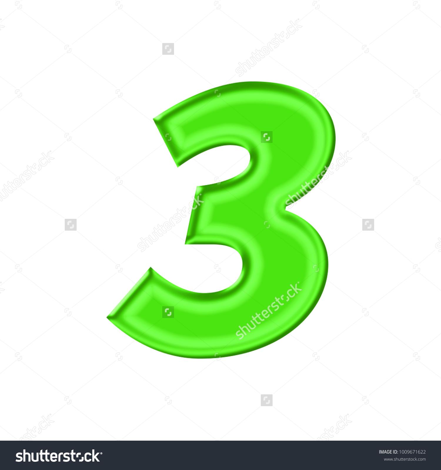 Shiny Plastic Green Number Three 3 Stock Illustration 1009671622 ...