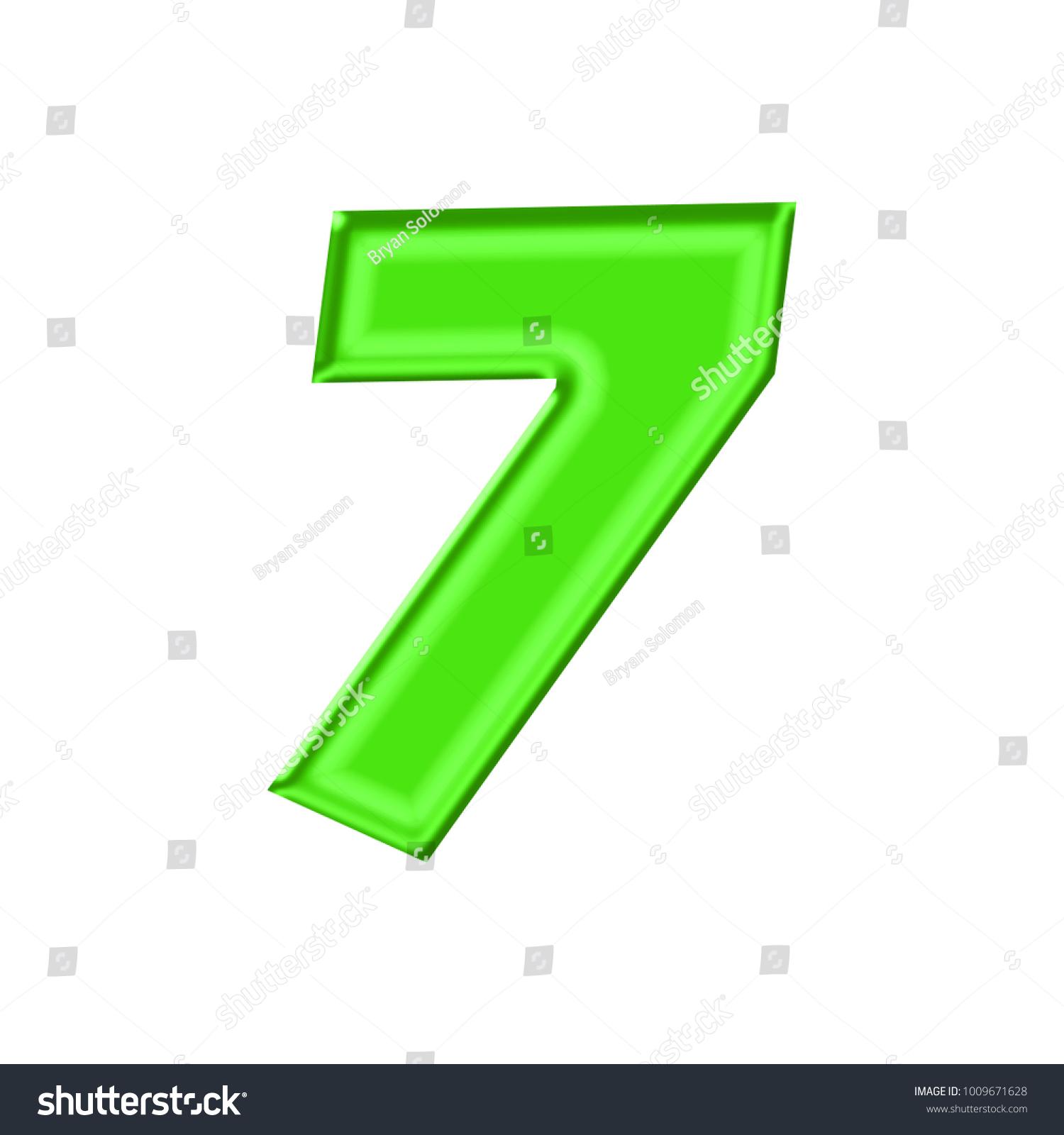 Shiny Plastic Green Number Seven 7 Stock Illustration 1009671628 ...