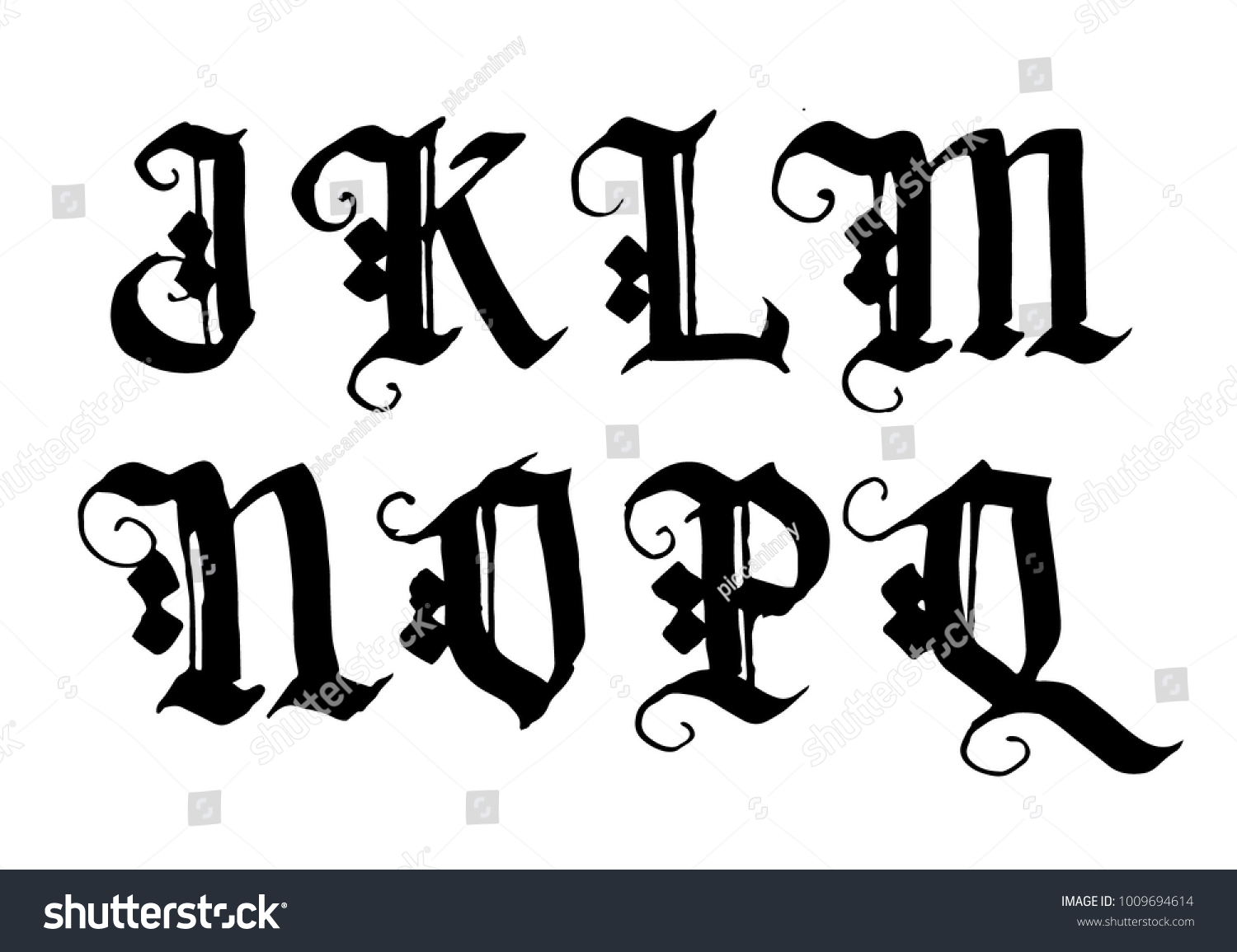 Hand Drawn Ink Gothic Style Lettering Stock Vector Royalty Free
