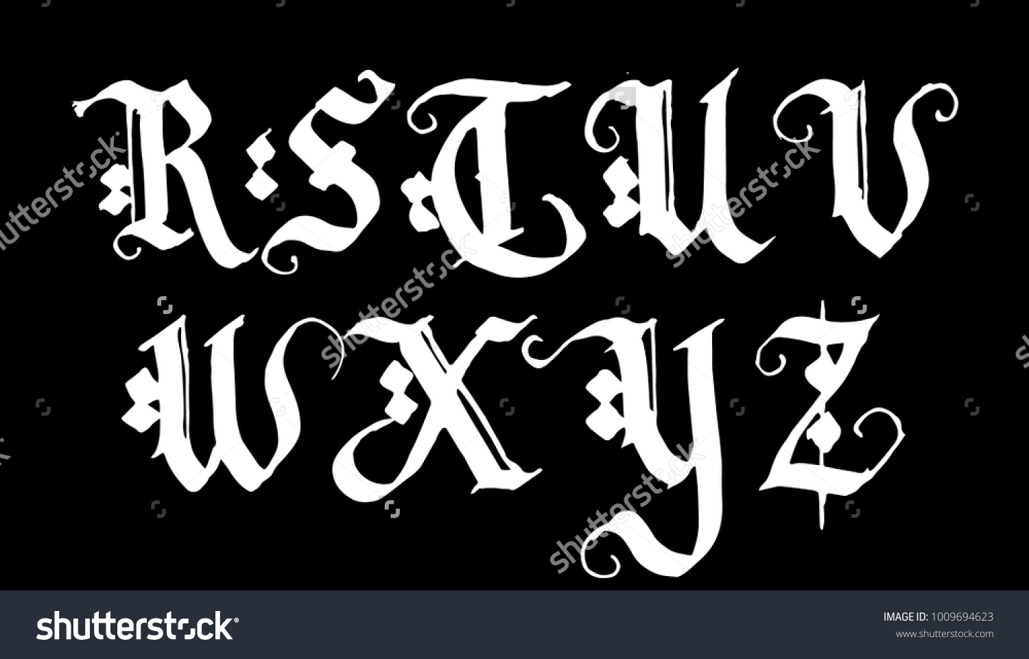 Hand drawn ink gothic style lettering stock vector hd royalty