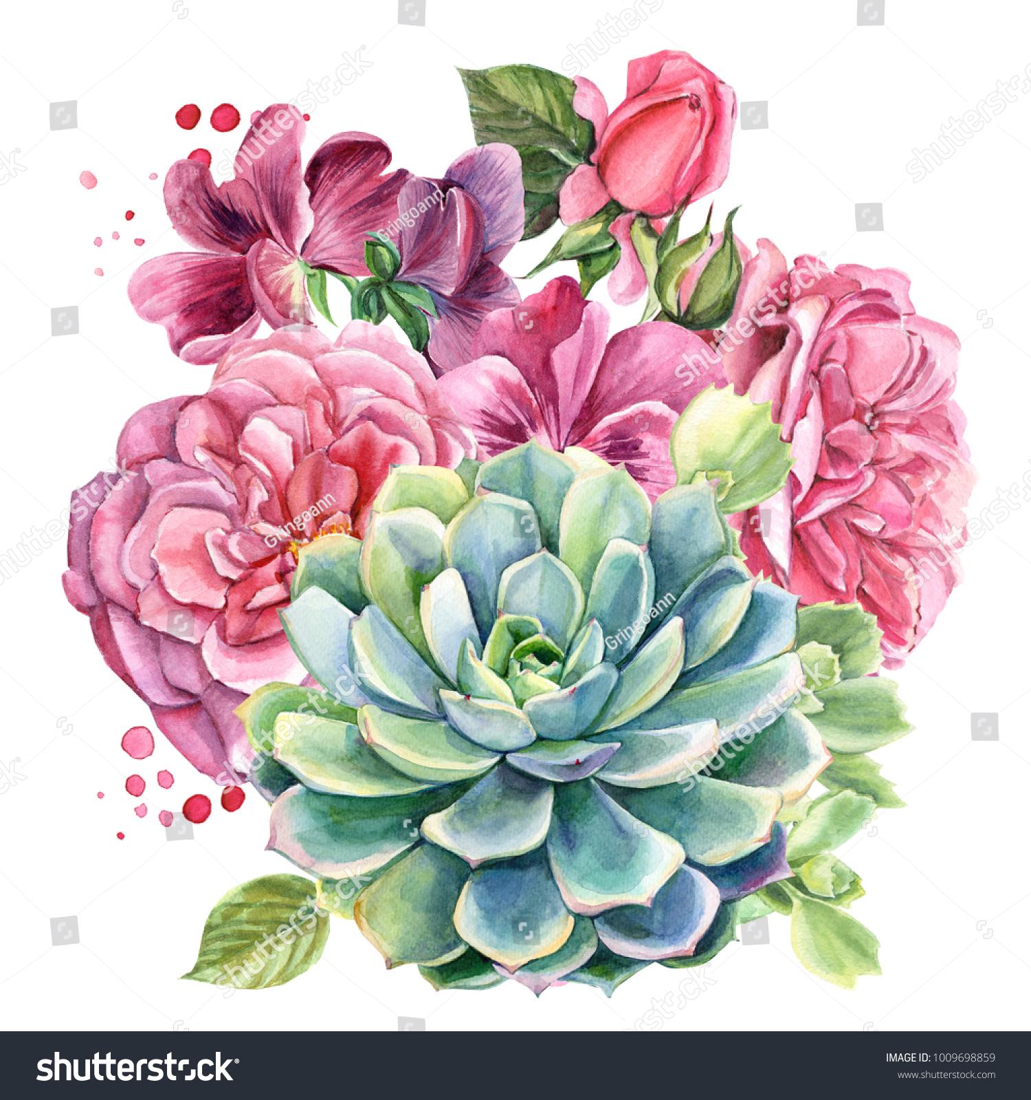 Wedding Bouquet Eucalyptus Leaves Pink Roses Stock Illustration 1009698859
