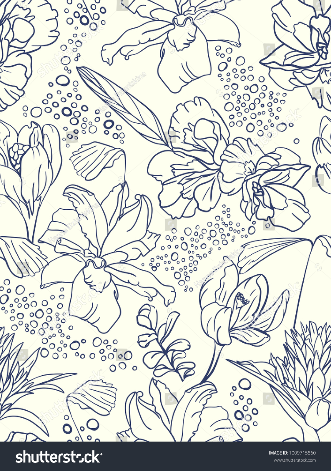Seamless Floral Pattern With Spring Flowers Hand Drawn Vector Illustration Best Foe Cover